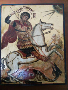 20th century ortodox russian icon of st. Georgij hand painted