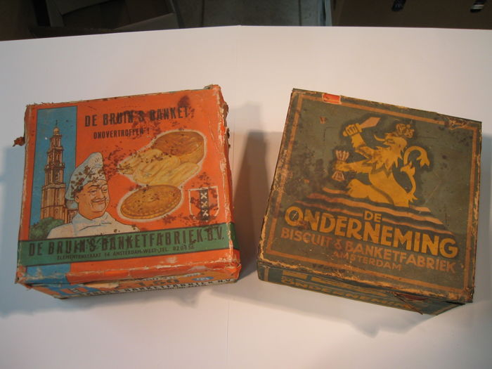 Two tins of Amsterdam pastry factories - rare and old!