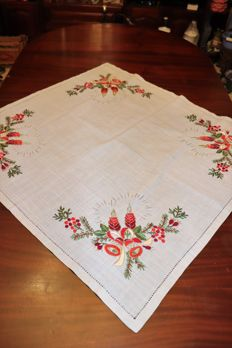 Beautiful Christmas tea tablecloth with colour embroidery