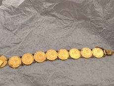 Italy - Gold bracelet with 9 x 5 Lire coins (2 coins from 1865 and 7 from 1863) - gold