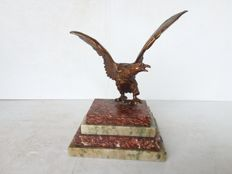 Bronze Eagle on Marble Base, 20th century