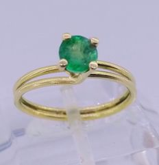 18 kt yellow gold cocktail ring with emerald of 0.50 ct - Inner measurement: 16.5 mm
