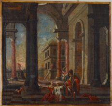Follower of Dirk Van Delen. (18th century) - Four figures and a dog by classical buildings