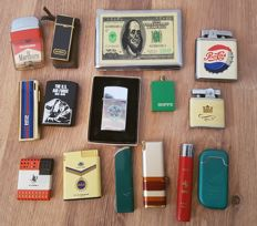 15 metal vintage lighters a.o. Bugatti JPS Yves Saint Laurent Ferrari 555 Jim Hao Zippo Storm Pepsi Marlboro