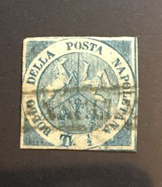"Naples 1860 - Dictatorship, ½ Tornese, light blue, ""Trinacria"" - Sassone No. 14"