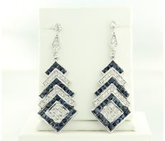 14 kt white gold dangle earrings set with sapphire and brilliant-cut diamonds, approximately 4.24 ct in total