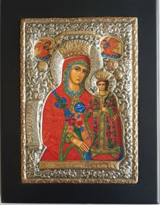 925 silver Holy Virgin Mary of Roses Icon,  Greece , 15x19cm