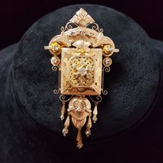 Pendant brooch - late 19th century, 21 kt gold, antique cut diamonds 13.80 g