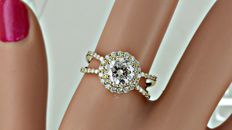 1.32 ct SI1 round diamond ring made of 14 kt yellow gold - size 7