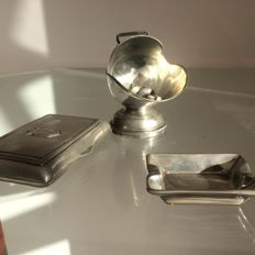 Beautiful and Unique Table Set: English Guard Helmet, cigarette case and ashtray