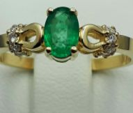 14 Ct Yellow Gold Gold Emerald Ring With Diamonds, Emerald:0.50ct, Diamond:0.15Ct, Total Weight :2.40gCt, Size 16.5mm