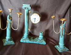 Set of clock and two candelabra, 80s