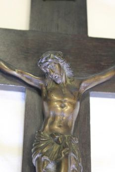 Antique bronze Christ Cross INRI. Ca. 1900 - Portugal.