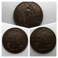 """Italy, Kingdom – 5 cent. 1909/1918 """"Prora"""" and 10 cent. 1911 – Vittorio Emanuele III – 3 coins"""