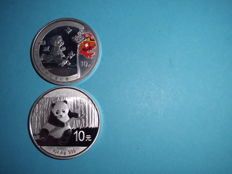 China - 2 x 10 yuan 2 x 1 oz. silver proof 2008/2014