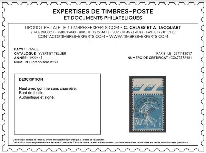 France 1922/1976 – Complete collection of Precancelled, Yvert no. 39 to 145, following over 6 MOC pages