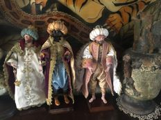 Three wise Men in terracotta - San Gregorio Armeno - Neapolitan figures, Melchior, Caspar and Balthazar
