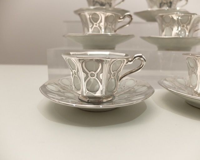 Tirschenreuth, 6 cups with saucers, silver on porcelain