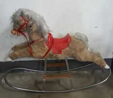 Soft plush rocking horse from the 1960s