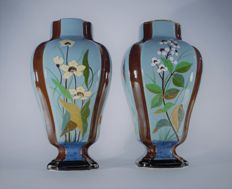 Boch Freres Keramis - A pair of rare and early Art Nouveau oriental vases