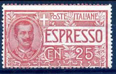 Italy, Kingdom, 1903 – Express, 25 cent. Red, with heavily displaced horizontal perforation – Sass. No. 1d.