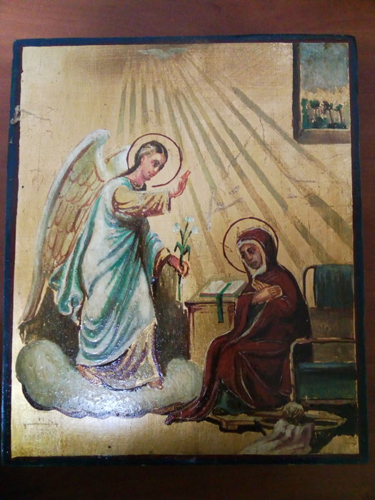 20th century ortodox russian icon of Annunciation hand painted
