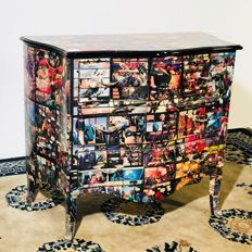 Beautiful Pop art style dresser made with decoupage technique - Pop art dresser - 1980 - Italy