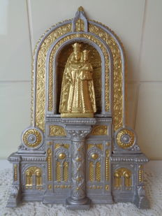 Impressive tin altar piece with Mary and Jesus - France - Circa 1900