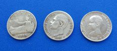 Spain - lot of 3 rare coins of 50 peseta cents 1869*6*9 Provisional Government - 1885*8*6 Alfonso XII - 1892*8*2 Alfonso XIII
