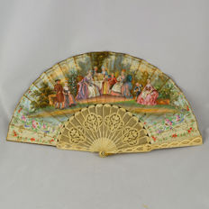 Hand Painted in paper and bone French Fan – 19th Century