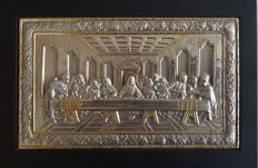 925 Silver Icon '' Last Supper '' , 20.th Century, Greece , 17x26 cm