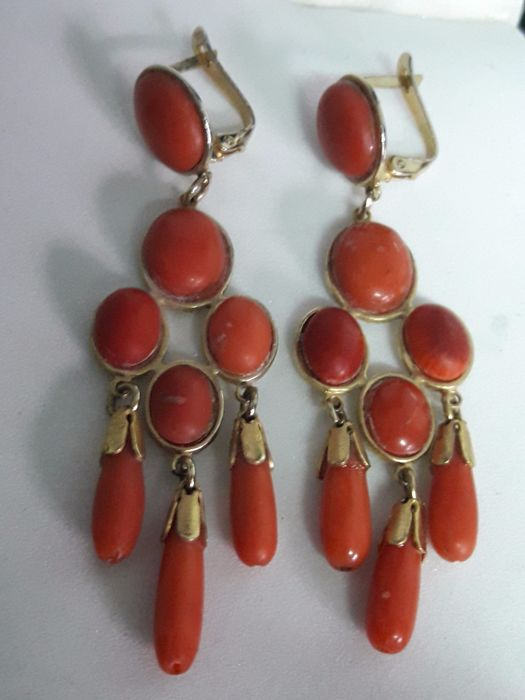 02707a762303 Muy antiguos pendientes Coral Sg XX - Catawiki