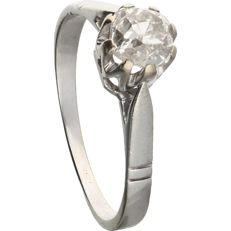 14 kt – White gold solitaire ring set with an old European cut diamond of 1.02 ct - Ring size: 17.75 mm