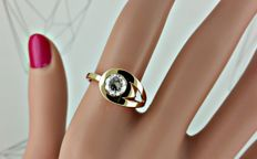 1.03 ct SI1 round diamond fashion ring in 18 kt yellow  gold - size 7