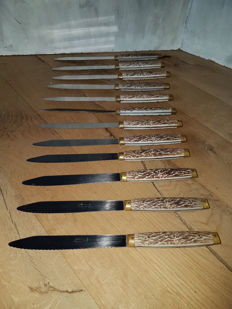 Pradel - 12 meat knives with Faux Horn/brass handles -France - ca. 1960