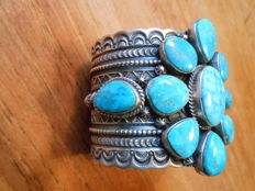 Large Navajo Turquoise Sterling Silver Bracelet - by D. Cadman