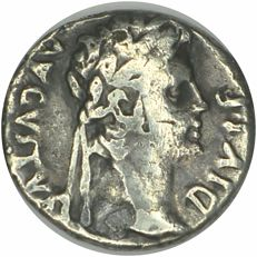 Roman Empire – Augustus. Denarius. (8 B. C.) Obverse: Head with laurel to the right; AVGVSTVS DIVI F. Reverse: Gaius Casear riding to the right, behind aquila (eagle) between two military insignias.
