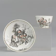 Miniature Chinese Porcelain Encre de Cup & Saucer Rarity Group People Near house Antique - China - 18C