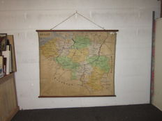 Large school map on canvas (linen) early 1900, Belgium