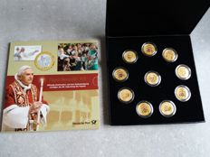Vatican - Coins / medal + stamps in honour of the 80th birthday of Pope Benedictus XVI