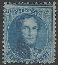 België 1863 -  20c blauw Leopold I type 'Getande Medaillons' tanding 12½ x 13½ - OBP nr. 15A