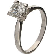 18 kt White gold Solitaire ring set with a brilliant cut diamond of 1.13 ct - ring size: 18.25 mm