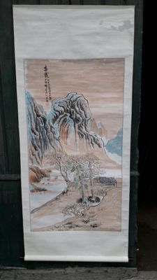 Chinese print signed poem in woven silk scroll painting on paper affixed with marouflage - China - second half of 20th century