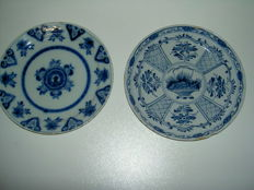 Johannes van Lockhorst and unknown - 2 plates, Delft resp. first half and mid 18th century