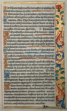 Original leaf from a book of hours from France - c. 1500
