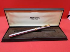 Steel AURORA, MADE IN ITALY, vintage pen, new, never used, roller refill, in original case, original gold-plated trims