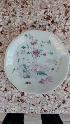 Footed bowl, famille rose china and grisaille calligraphy signed 20.5 cm