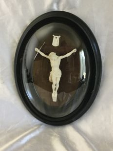 Jesus Christ in a darkened wooden oval frame from the Napoleon 3 period  France