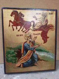 20th century ortodox russian icon of st. Elisei hand painted