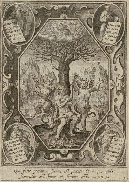 Cornelis Galle (1576-1650), after Maerten de Vos (1532-1603), Two devils tying a man on a tree, after 1635